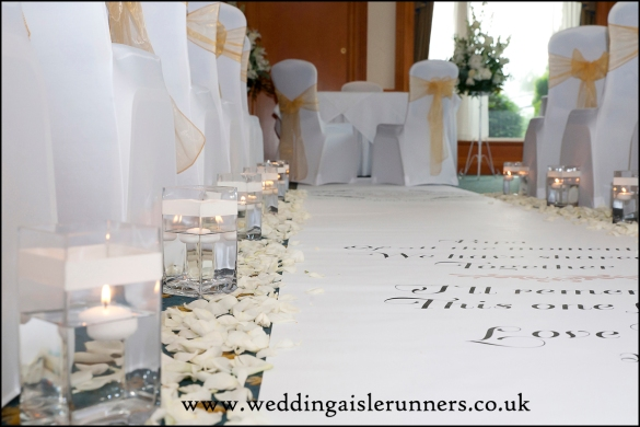 candles and petals wedding aisle runner