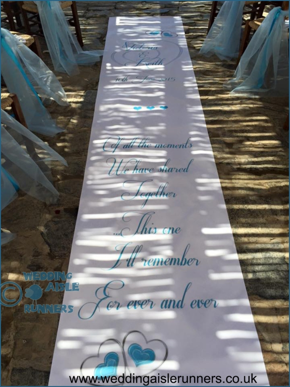 turquoise and silver wedding aisle runner