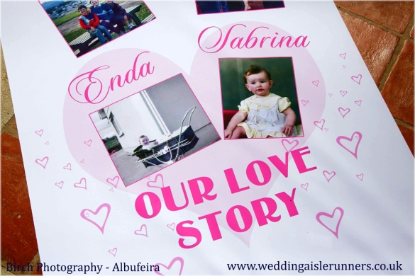 love story timeline wedding aisle runner with photos