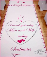 personalised wedding aisle runner design with pink and silver hearts