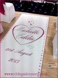 personalised wedding aisle runner design with names and date in pink and silver