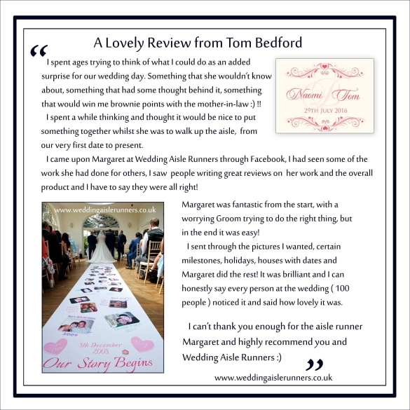 A lovely wedding aisle runner review