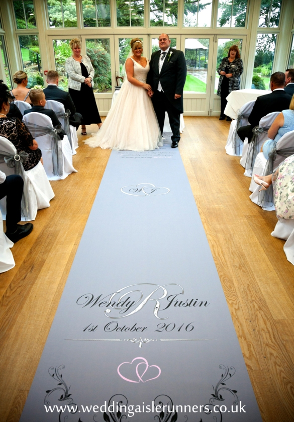 bride and groom wedding aisle runner