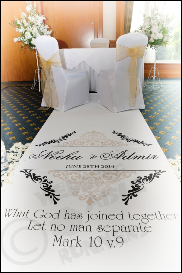 bible verse design wedding aisle runner