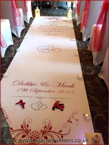 red scooter and skates wedding aisle runner design